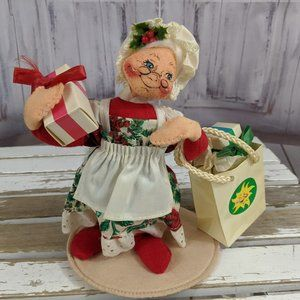 Annalee Mrs Claus shopping bag plush 1994